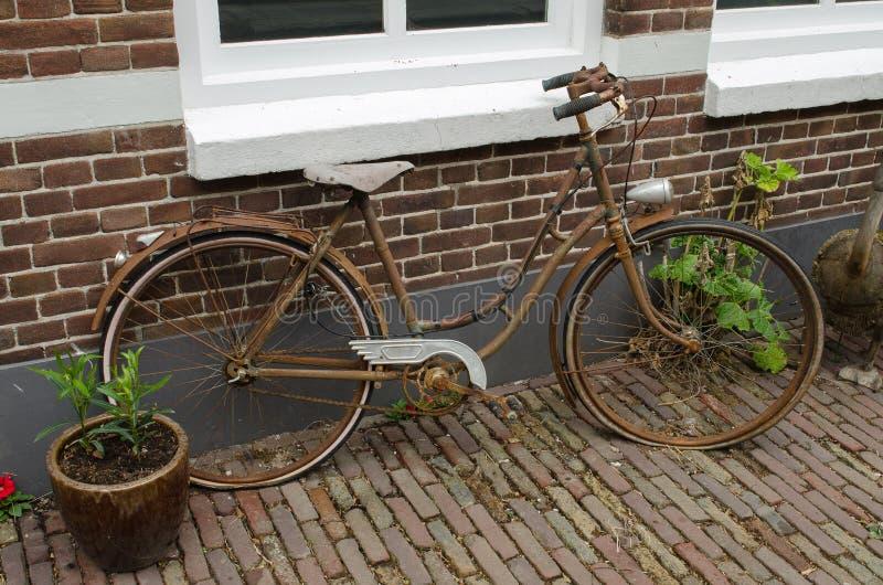 Vecchia bici arrugginita contro una proprietà nei Paesi Bassi fotografia stock libera da diritti