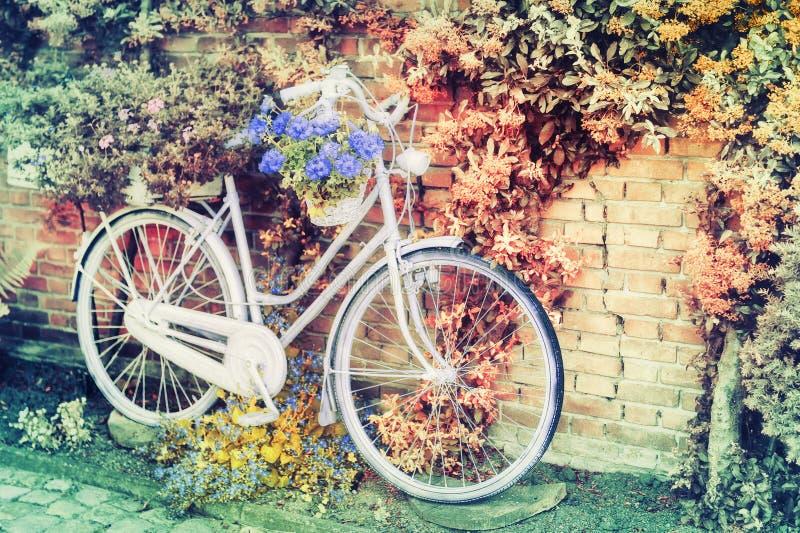Vecchia bicicletta con i fiori fotografia stock libera da diritti