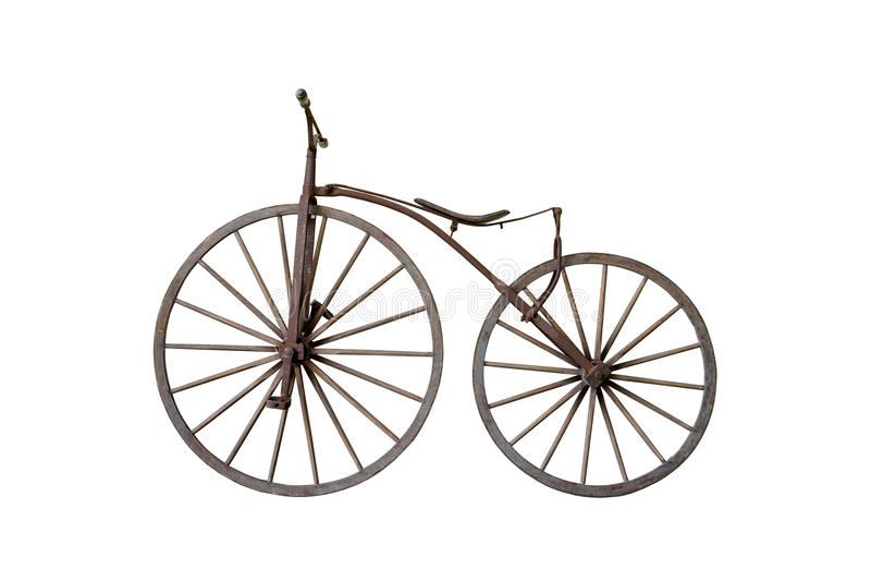 Vecchia bicicletta d'annata arrugginita isolata fotografia stock