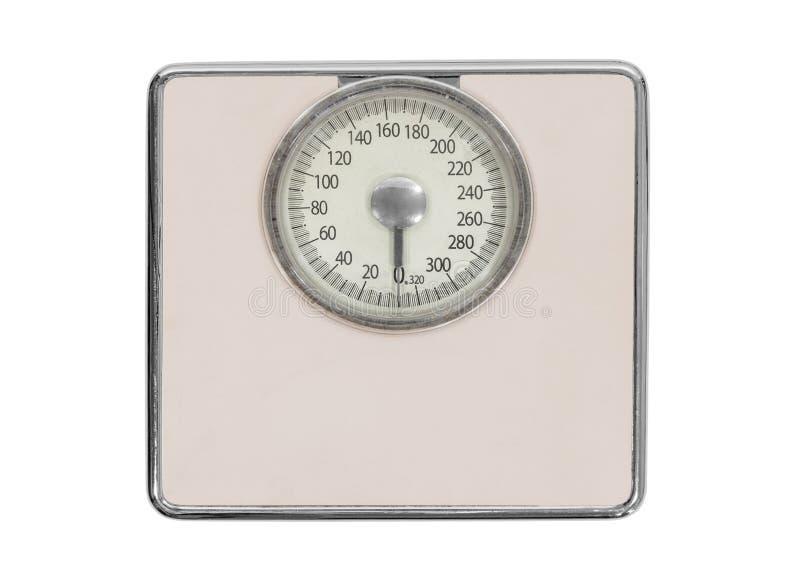 Vecchia bilancia pesa-persone rosa fotografia stock