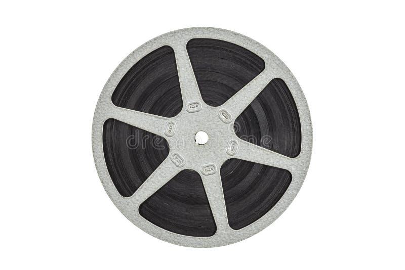 Vecchia bobina a film metallico isolata immagine stock