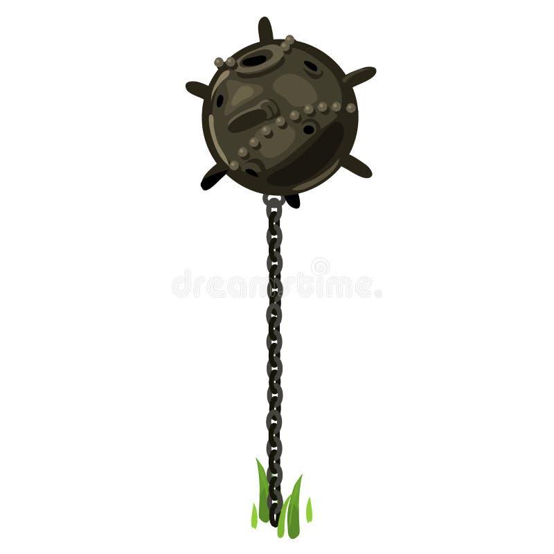 Vecchia bomba subacquea sulla catena, vettore illustrazione vettoriale