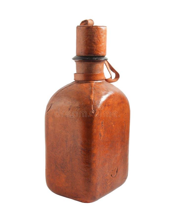 Vecchia bottiglia di cuoio immagine stock libera da diritti
