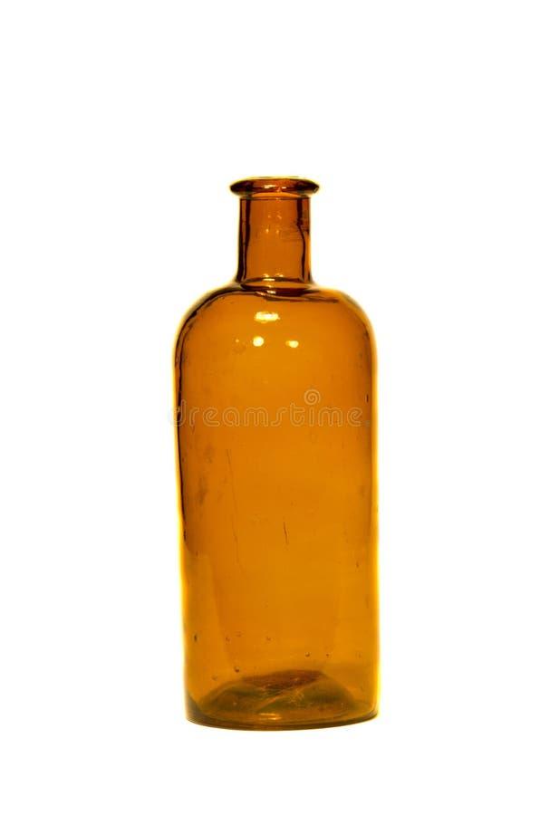 Vecchia bottiglia di vetro handmade isolata su bianco fotografia stock libera da diritti