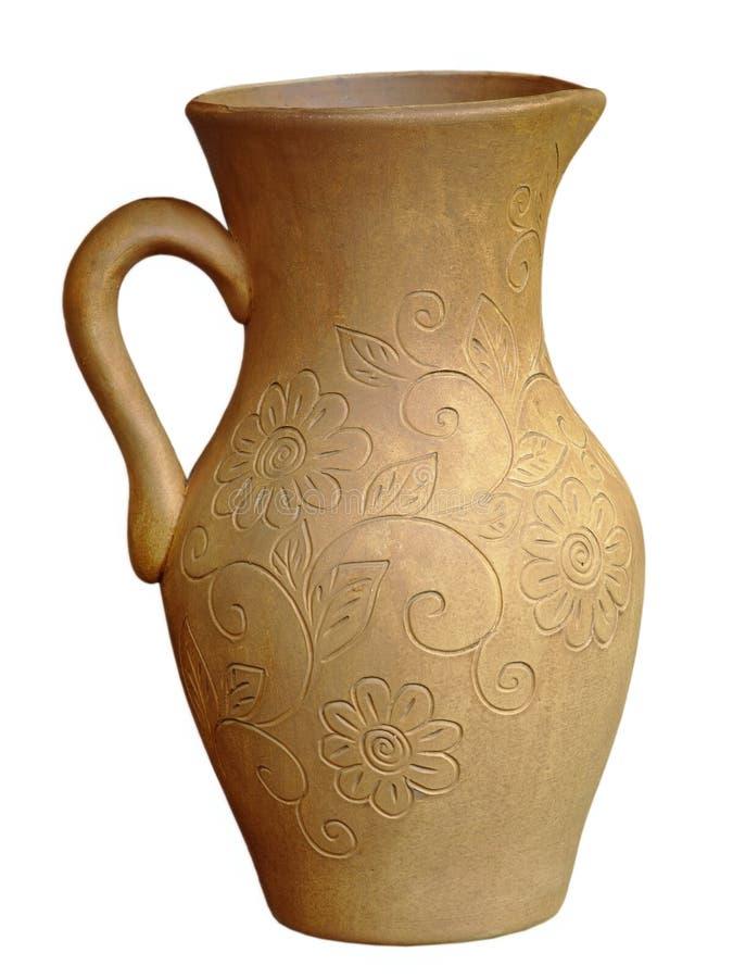 Vecchia brocca di ceramica Isolato immagini stock