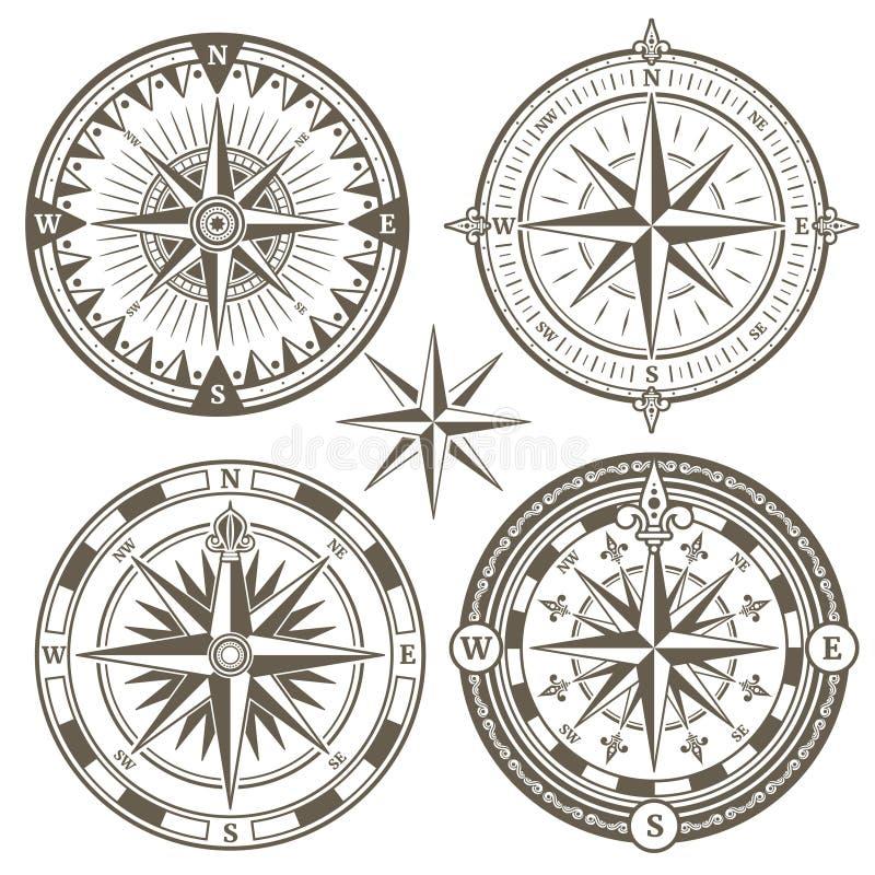 Vecchia bussola di navigazione marina di navigazione, icone di vettore della rosa dei venti royalty illustrazione gratis
