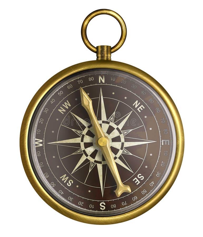 Vecchia bussola nautica dorata o d'ottone illustrazione di stock