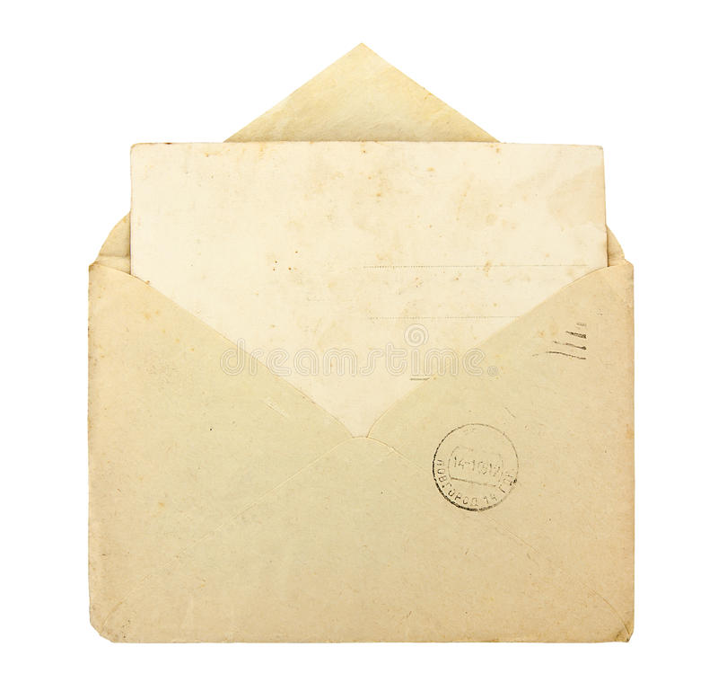 Vecchia busta con la carta in bianco fotografie stock