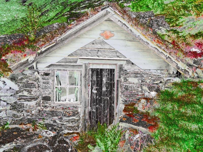 Vecchia cabina norvegese immagine stock