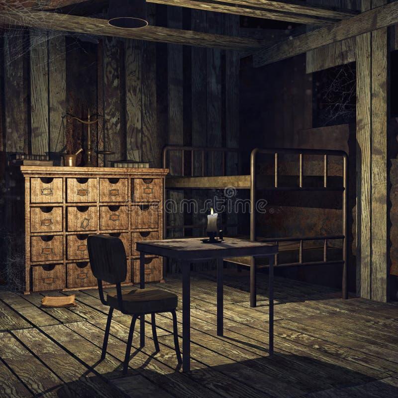 vecchia camera da letto abbandonata illustrazione vettoriale