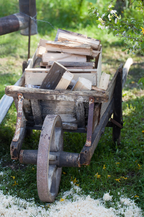 Vecchia carriola di legno caricata con legna da ardere fotografia stock immagine di molla - Carriola in legno da giardino ...