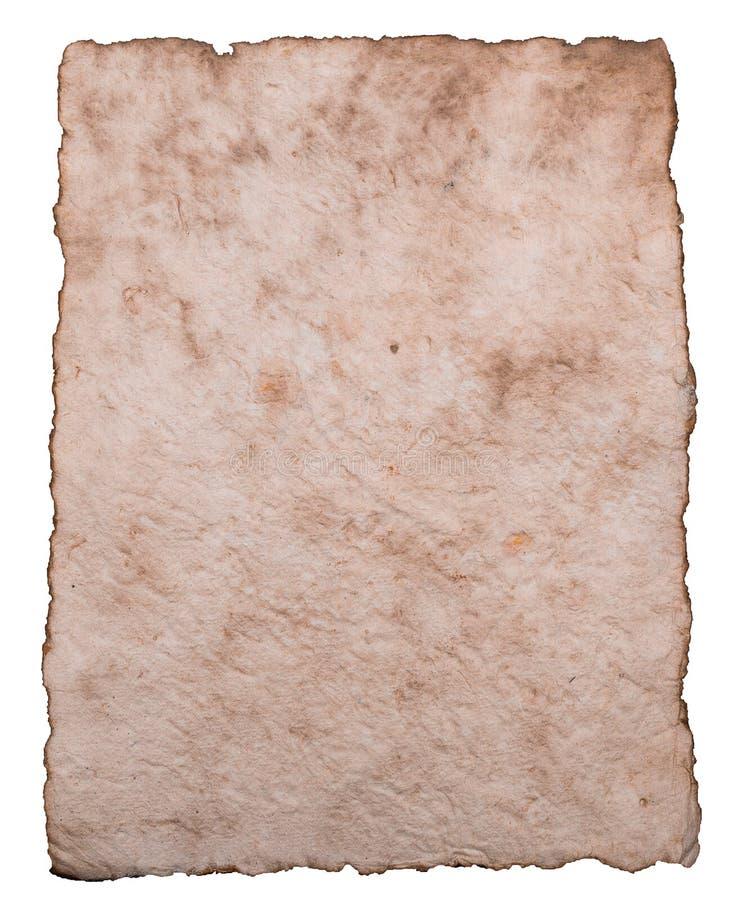 Vecchia carta antica dello strato isolata su fondo bianco fotografia stock libera da diritti