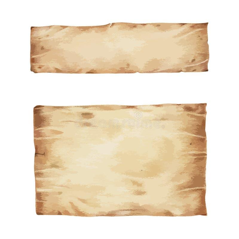 Vecchia carta in bianco marrone rustica illustrata illustrazione di stock
