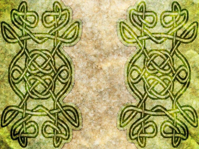 Vecchia carta con il modello celtico fotografia stock
