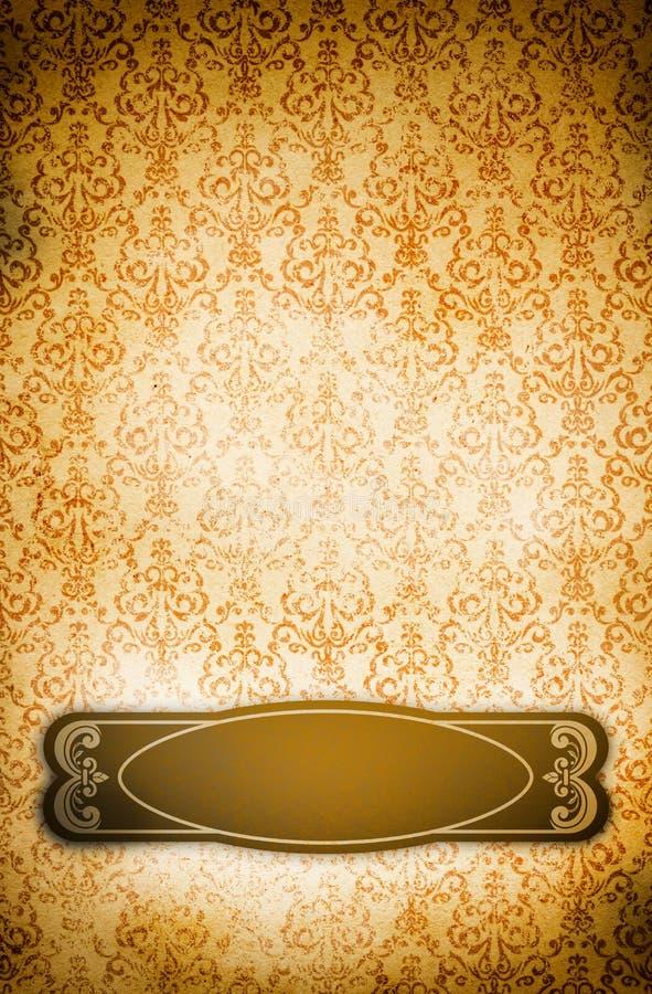 Vecchia carta con la struttura d'annata di lerciume e dell'ornamento floreale illustrazione vettoriale