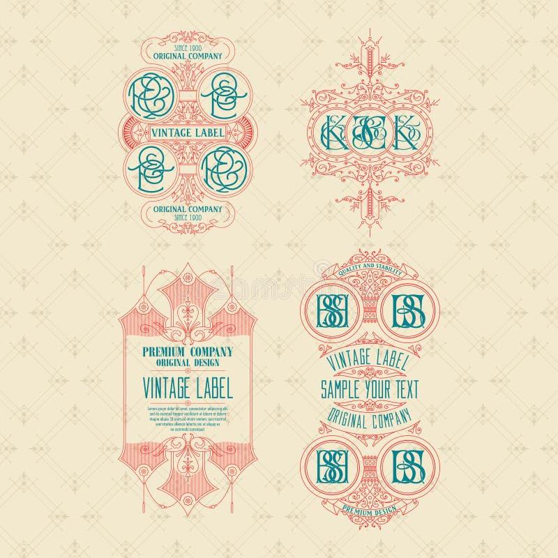 Vecchia carta d'annata 4 con l'ornamento floreale illustrazione di stock