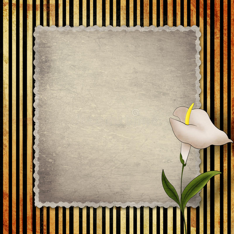 Vecchia carta d'annata con la calla fotografia stock
