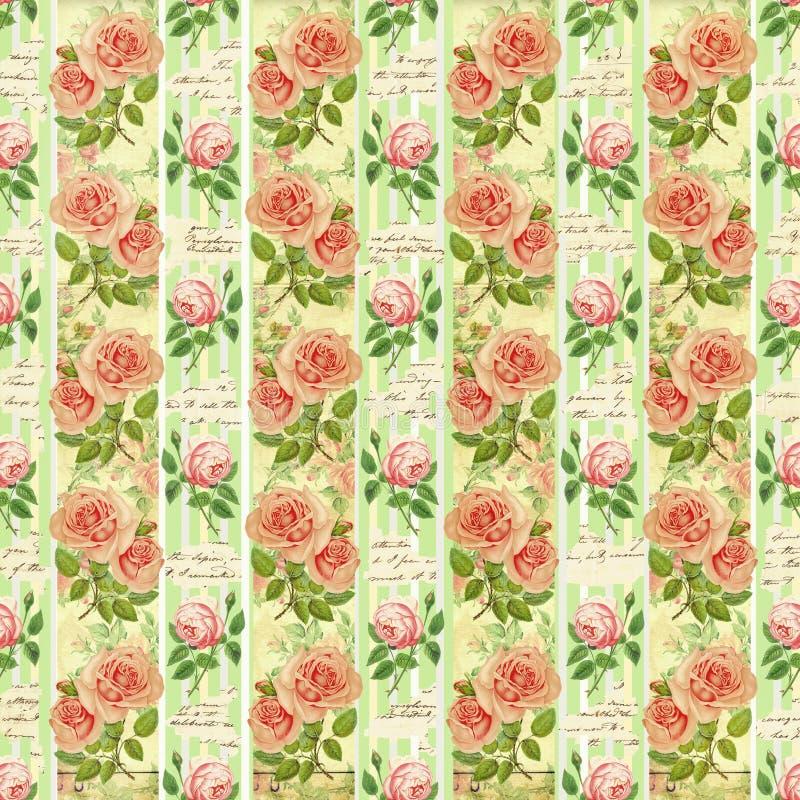 Vecchia carta da parati della carta del fiore di progettazione royalty illustrazione gratis