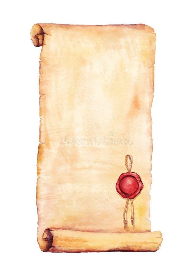 Vecchia carta dell'acquerello immagine stock