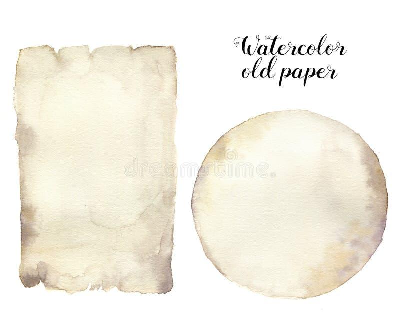 Vecchia carta dell'acquerello Struttura di carta invecchiata dipinta a mano isolata su fondo bianco Per progettazione, stampa royalty illustrazione gratis