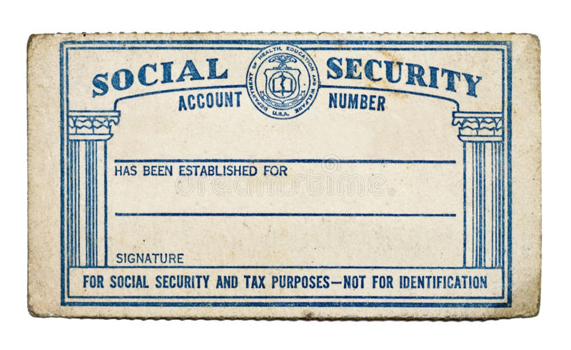 Vecchia carta di sicurezza sociale immagini stock
