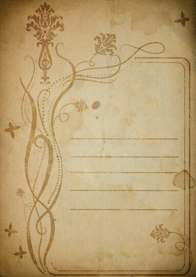 Vecchia carta floreale illustrazione di stock