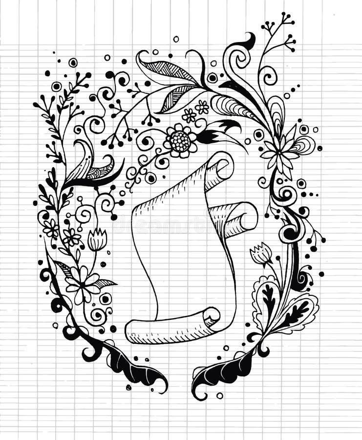 Vecchia carta floreale disegnata a mano del rotolo e del fondo royalty illustrazione gratis