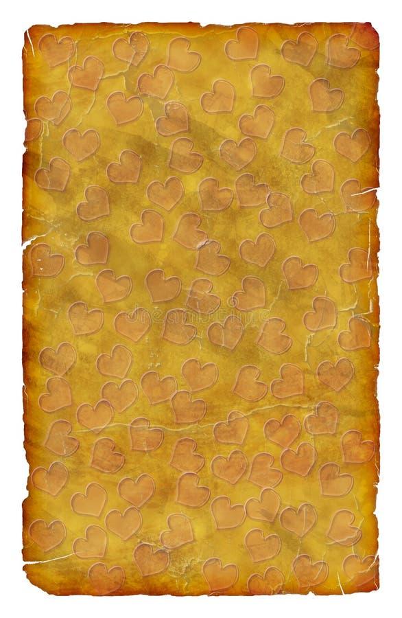 Vecchia carta grungy graffiata dei cuori fotografia stock libera da diritti