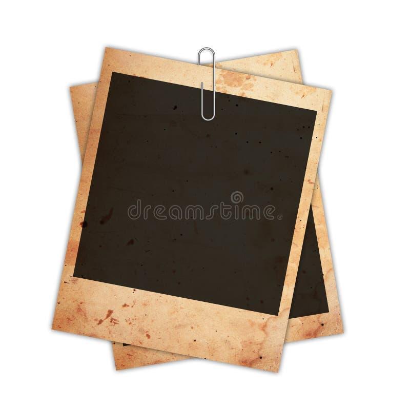 Vecchia carta istantanea della foto isolata su bianco fotografie stock libere da diritti