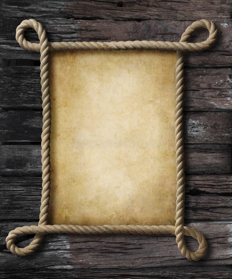 Vecchia carta nel telaio di stile del pirata della corda immagine stock