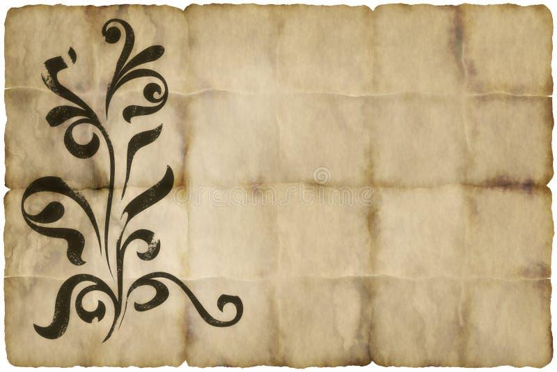 Vecchia carta pergamena floreale illustrazione di stock