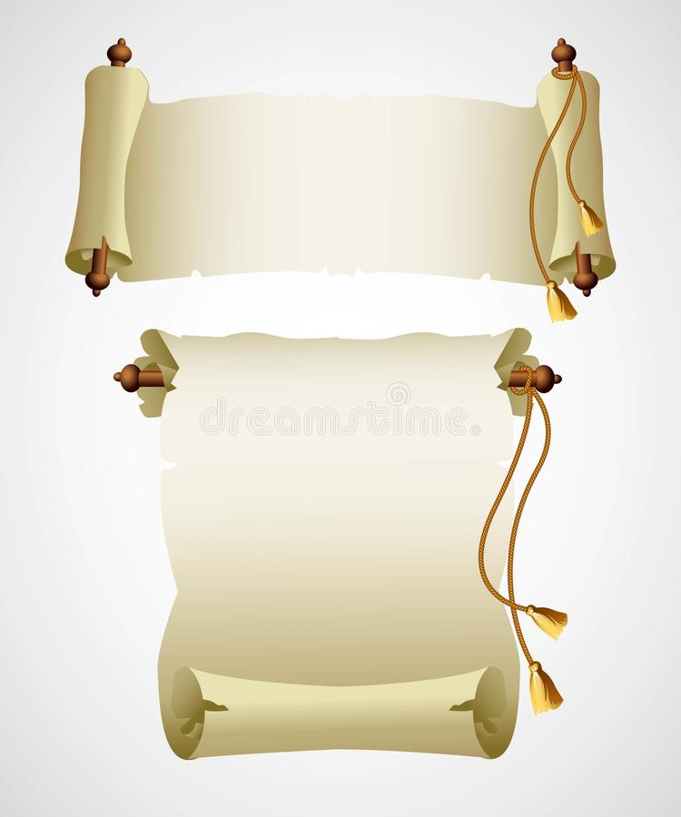 Vecchia carta verticale del rotolo Illustrazione di vettore royalty illustrazione gratis