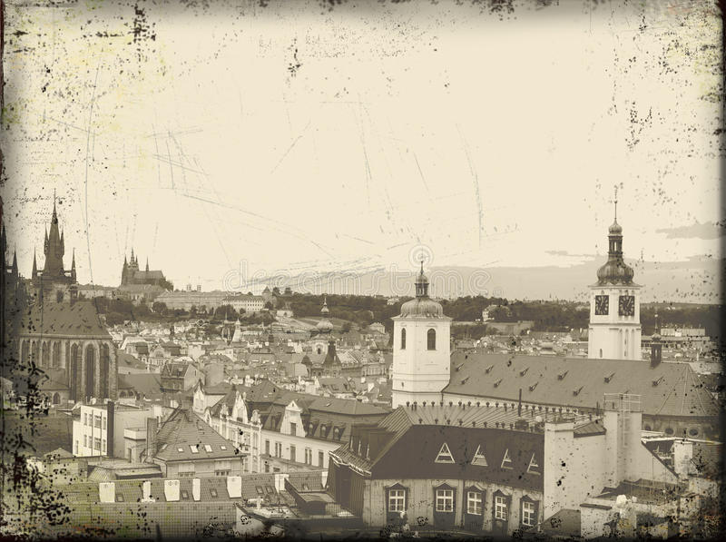 Vecchia cartolina dell'annata di Praga fotografia stock libera da diritti