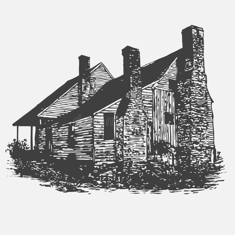 Vecchia casa illustrazione di stock
