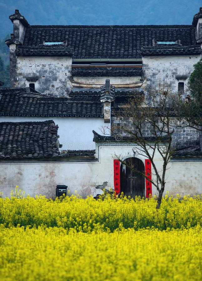 Vecchia casa antica del villaggio con la cultura del cinese tradizionale, l'Anhui, huizhou, Cina fotografie stock