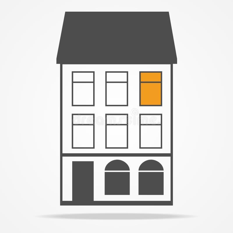 Vecchia casa con le mansarde illustrazione di stock