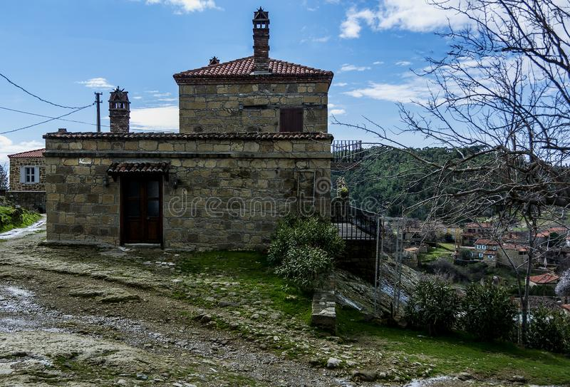 Vecchia casa del villaggio di Adatepe, Ayvacik, Canakkale, Turchia fotografia stock
