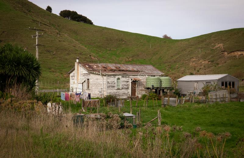 Vecchia casa di legno con la pelatura della pittura bianca vicino ad un bordo della strada nella baia rurale di Tolaga, costa Est fotografia stock libera da diritti
