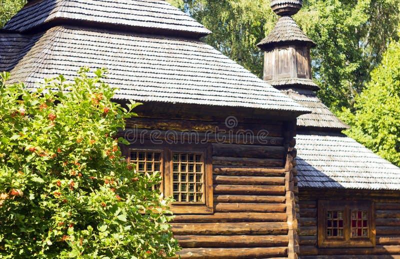 Vecchia casa di legno piacevole di estate del villaggio vicino al viburno del cespuglio immagine stock