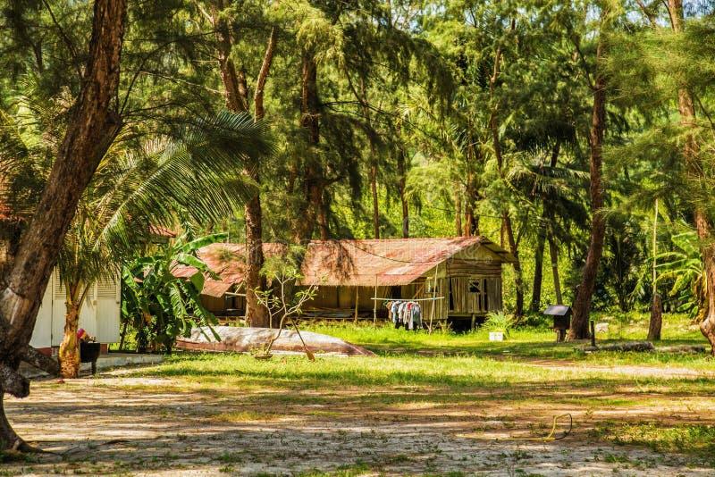 Vecchia casa di legno in un parco tropicale immagini stock