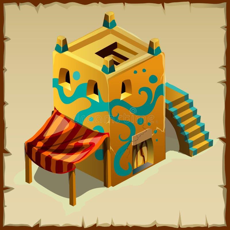 Vecchia casa nello stile arabo con un baldacchino illustrazione di stock