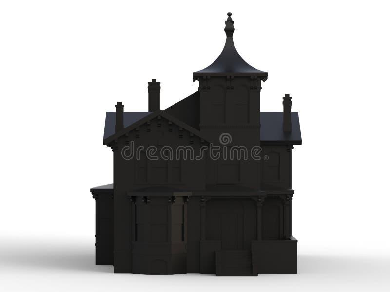 Vecchia casa nera nello stile vittoriano Impronta digitale Specie dai lati differenti rappresentazione 3d royalty illustrazione gratis