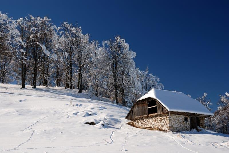 Casa di legno nel paesaggio di inverno immagine stock for Casa in legno romania
