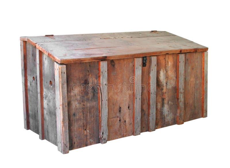 Vecchia casella di memoria di legno isolata fotografie stock libere da diritti