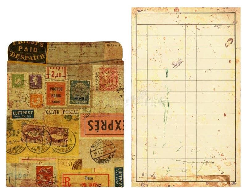Vecchia casella ed inserto di scheda delle biblioteche, alterati fotografia stock libera da diritti