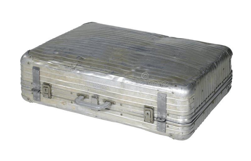 Vecchia cassa del metallo dell'ammaccatura fotografia stock