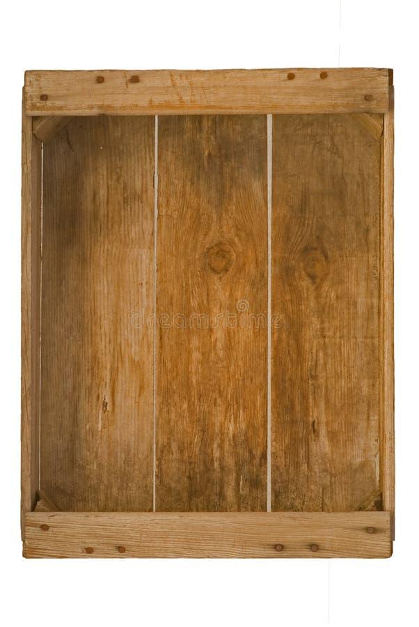Vecchia cassa di legno isolata del frutteto. fotografia stock