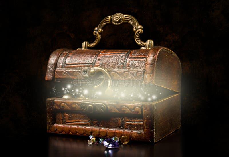 Vecchia cassa di tesoro di legno fotografia stock libera da diritti