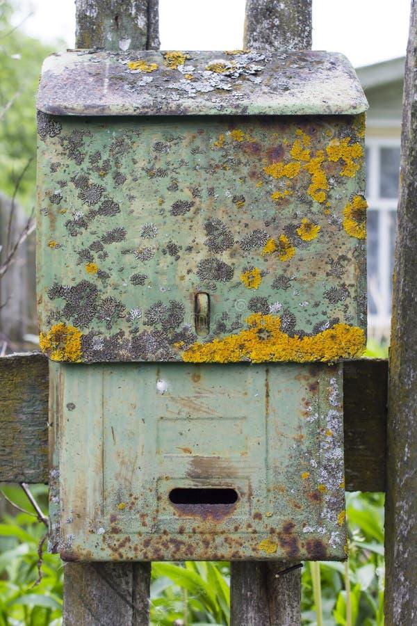 Vecchia cassetta delle lettere verde coperta di muschio e di lichene fotografia stock