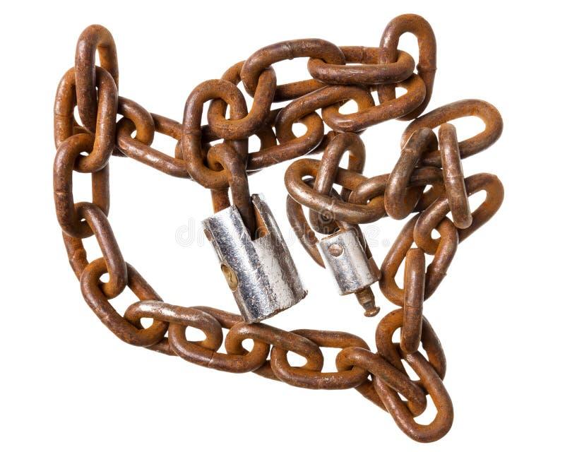 Vecchia catena arrugginita con una serratura fotografie stock